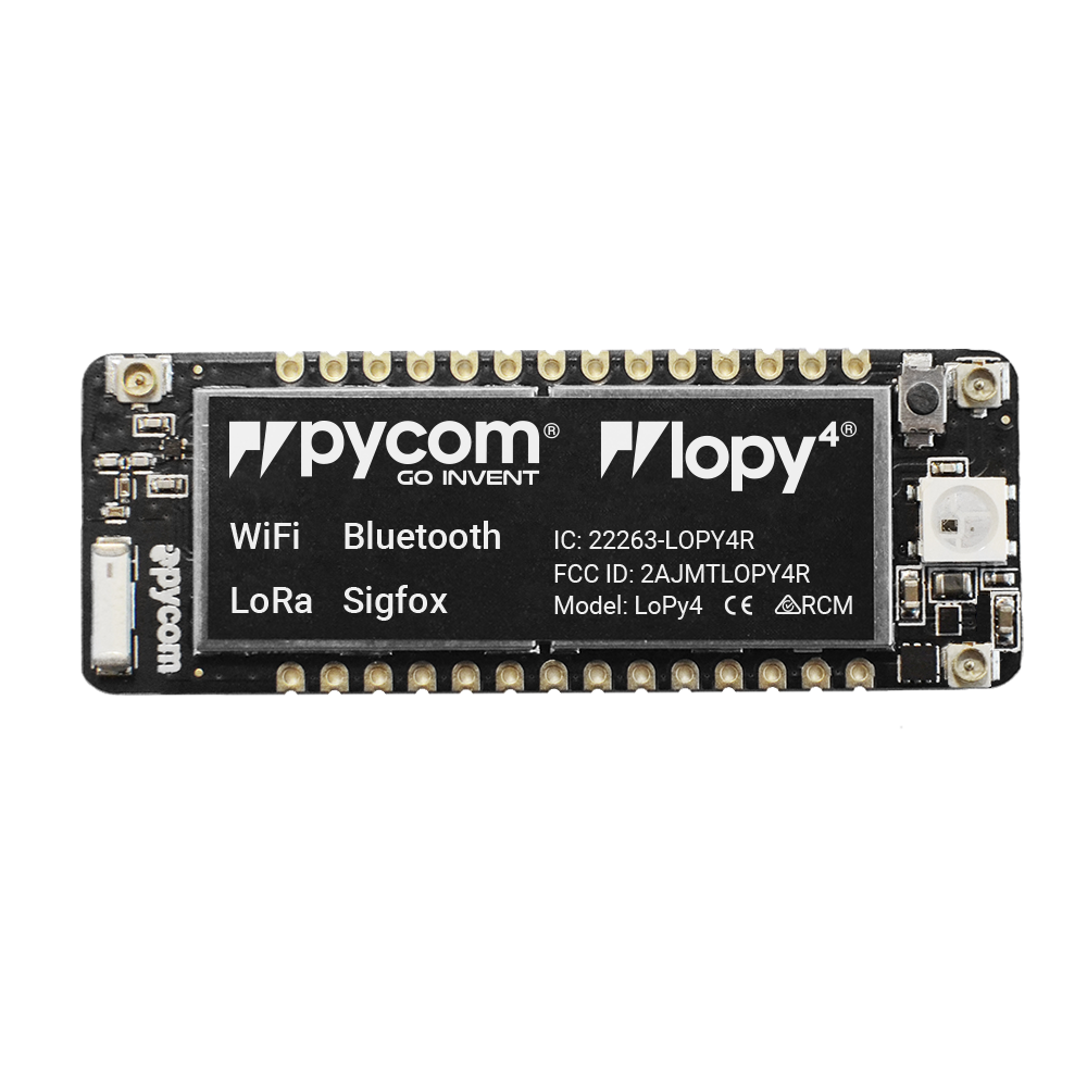 The LoPy4 is a quadruple bearer MicroPython enabled