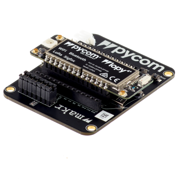 Expansion board with Lopy - micropython programmable offering WiFi, BLE and LoRa